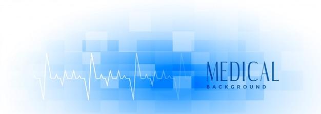 Mediale en gezondheidszorg brede blauwe banner