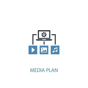 Mediaplan concept 2 gekleurd icoon. eenvoudige blauwe elementenillustratie. mediaplan symbool conceptontwerp. kan worden gebruikt voor web- en mobiele ui/ux