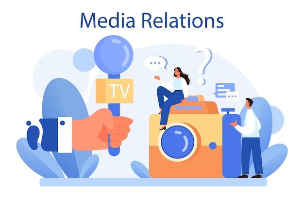 Mediarelaties concept Premium Vector