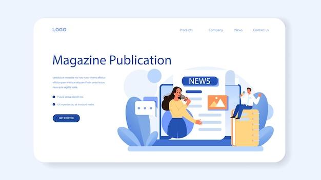Mediarelaties webbanner of bestemmingspagina. het produceren van nieuws en merkadvertenties in massamedia. onderhouden van een bedrijfsreputatie door middel van pers. platte vectorillustratie