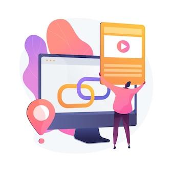 Mediaspeler, software, computertoepassing. geolocatie-app, functie voor locatiebepaling. mannelijke implementator, programmeur stripfiguur. vector geïsoleerde concept metafoor illustratie.