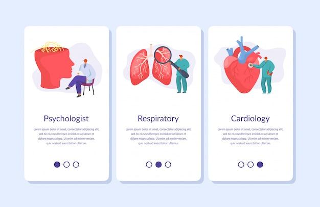 Medic-banners instellen voor mobiele app van geneeskunde online artsen, medische consultatie gezondheidszorg illustratie.