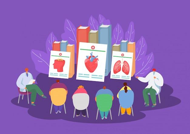 Medic onderwijs, geneeskunde conferentie in ziekenhuis illustratie.