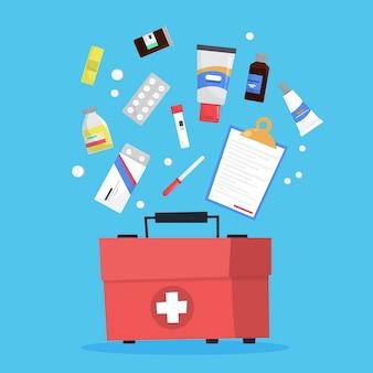 Medicatie set. inzameling van apotheekdrug in fles