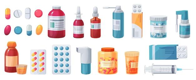Medicijnen, tabletten, capsules en receptflessen