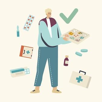 Medicijnen zorg en opslag illustratie. jonge mannelijke karakter organisator doos met medische pillen te houden.