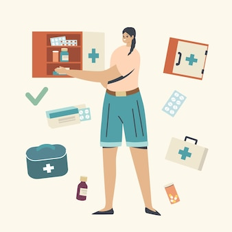 Medicijnen zorg en opslag illustratie
