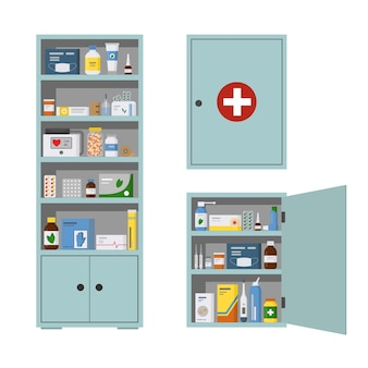 Medicijnkist vol drugs pillen en flessen apotheek plank platte vector illustratie geïsoleerd illustration