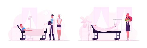Medicijnpersoneel en bezoekers op de afdeling traumatologie in het ziekenhuis. meisje met boeket bezoek vriend in kliniek. arts en verpleegkundige kamer omweg voor behandeling van de patiënt. cartoon platte vectorillustratie