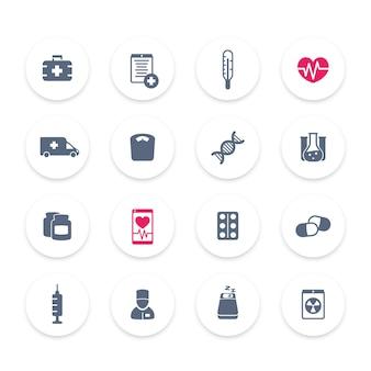 Medicijnpictogrammen, gezondheidszorg, ambulance, ziekenhuis, pillen, medicijnen, vaccinatie