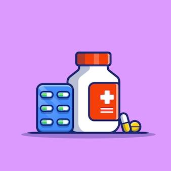 Medicijnpotje en pillen strip cartoon pictogram illustratie. gezondheidszorg geneeskunde pictogram concept geïsoleerde premie. platte cartoon stijl