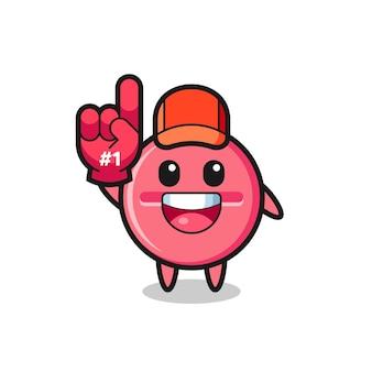 Medicijntablet illustratie cartoon met nummer 1 fans handschoen, schattig ontwerp