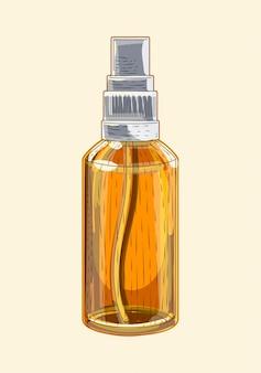 Medicinale bruine glazen sprinkler, handgetekende schetsart