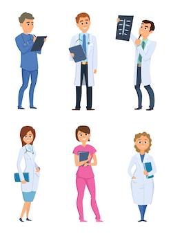 Medicverpleegkundigen en artsen. gezondheidszorgpersonages in verschillende houdingen