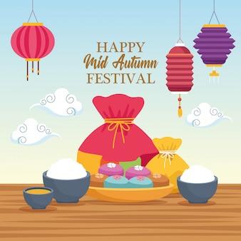 Medio herfst chinees festivalbeeldverhaal