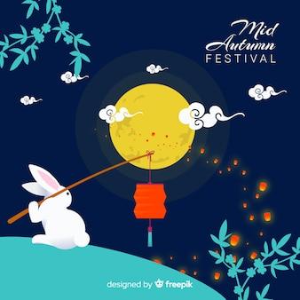 Medio herfst festival achtergrond concept