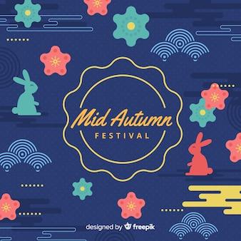 Medio herfst festival achtergrond in platte ontwerp