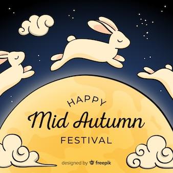 Medio herfst festival achtergrond met schattige konijntjes
