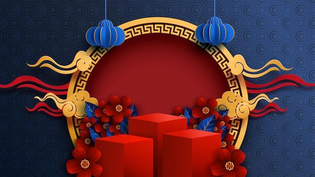 Medio herfst festival in papier kunststijl chinees nieuwjaar en rode podium achtergrond.