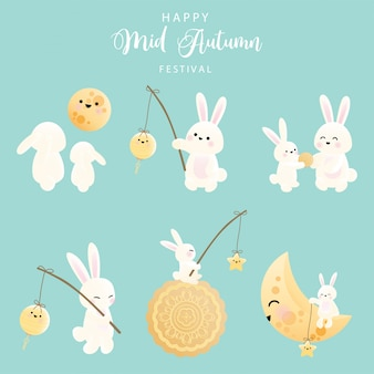 Medio herfst festival set van konijntje.