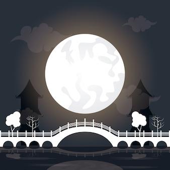 Medio herfst festivallandschap met maan