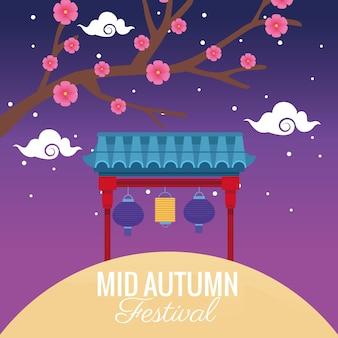 Medio herfst festivalviering met bloemenboom en lantaarns die in boog hangen