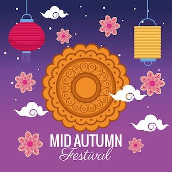 Medio herfst festivalviering met decoratief kant en bloemen
