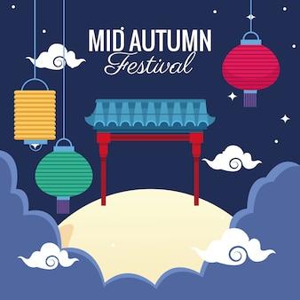Medio herfst festivalviering met hangende boog en lantaarns