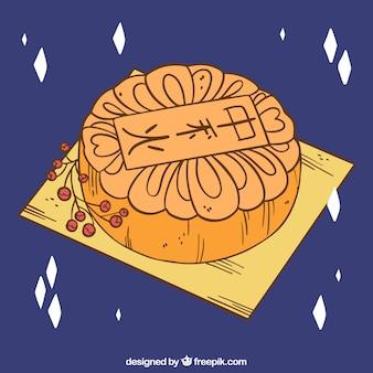 Medio herfstachtergrond met maancake