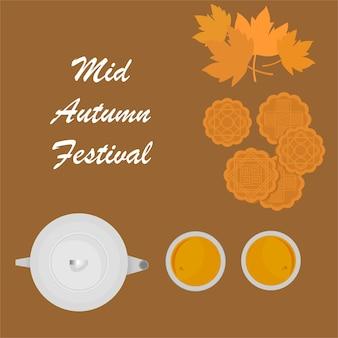 Medio herfstfestival met een achtergrond van maancakes en thee