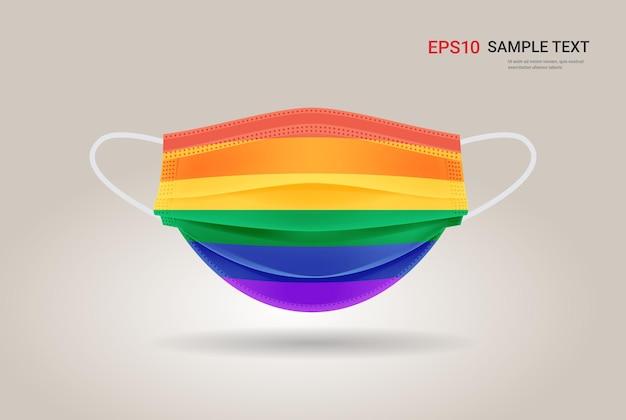 Medisch ademhalings gezichtsmasker lgbt regenboogvlag homo lesbisch liefde parade trots festival coronavirus bescherming concept kopie ruimte horizontaal vectorillustratie