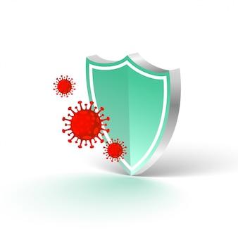 Medisch beschermingsschild dat het coronavirus stopt om binnen te komen