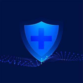 Medisch beschermingsschild met de dwarsachtergrond van de tekengezondheidszorg