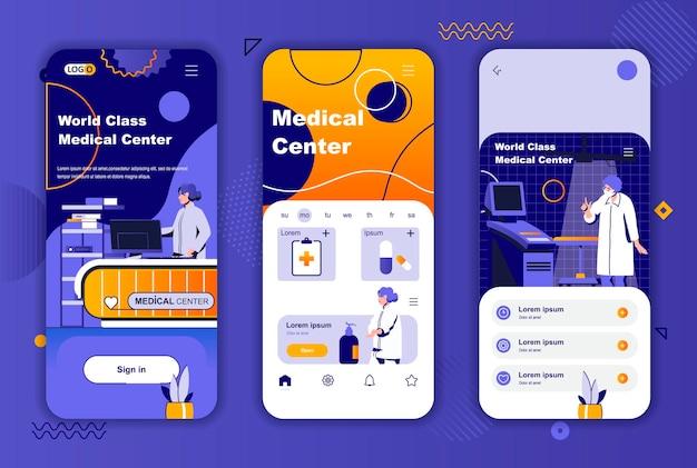 Medisch centrum mobiele app schermen sjabloon voor verhalen op sociale netwerken
