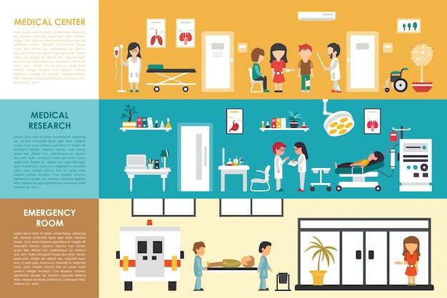Medisch centrum onderzoek noodsituatie kamer plat ziekenhuis interieur concept web vector illustrat