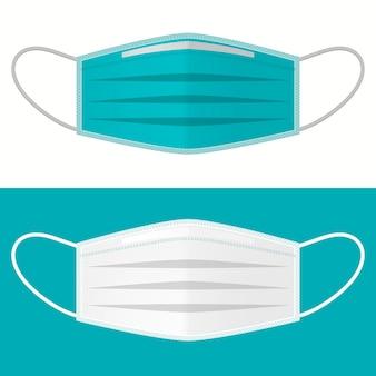 Medisch chirurgisch masker. gezichtsverzorging cover, ademhalingsinfectie beschermend. medische gezondheidszorg, covid-19 microbiologie epidemisch concept. coronavirus 2019-ncov beschermen. corona virus ziektekiem. vector
