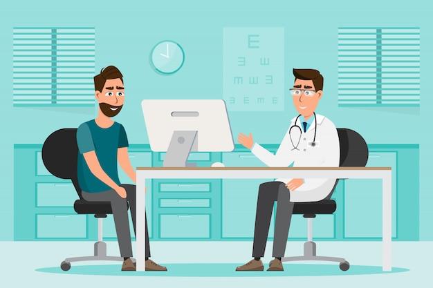 Medisch concept. arts en patiënt in het ziekenhuis interieur kamer