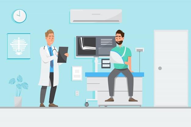 Medisch concept met arts en patiënten in vlakke beeldverhaal op het ziekenhuiszaal