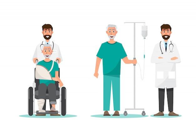 Medisch concept. oude man zit op een rolstoel en staat met arts wees voorzichtig
