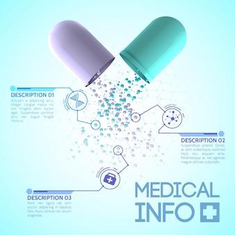 Medisch design poster met originele medicinale capsule bestaande uit blauwe en witte delen Gratis Vector