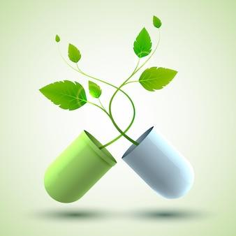 Medisch design poster met originele medicinale capsule bestaande uit groene en blauwe delen en bladeren als levenssymbool illustratie