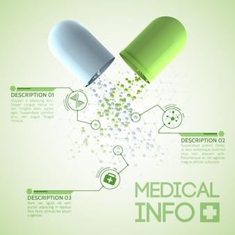 Medisch design poster met originele medicinale capsule bestaande uit groene en witte delen