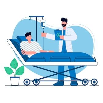 Medisch een arts met patiënt vlakke afbeelding