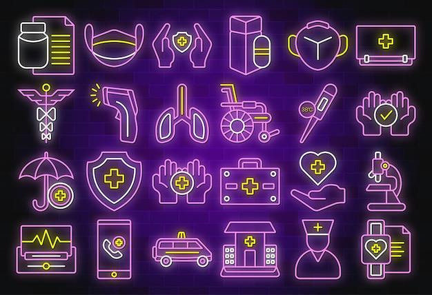 Medisch en gezondheidszorgpictogrammenontwerp in neonstijl