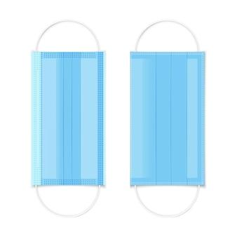 Medisch gezichtsmasker. realistisch blauw ademhalingsmasker. virussen en ziektebescherming. gezondheidszorgprobleem. geïsoleerd op wit