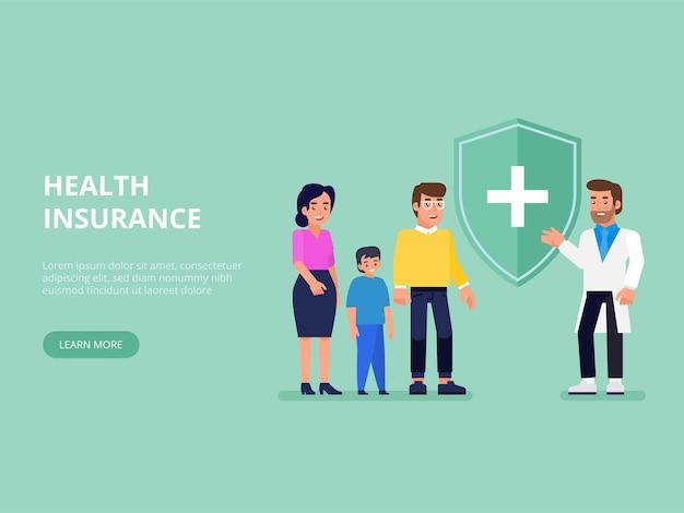 Medisch, gezondheids- en levensverzekeringsconcept. verzekeringsagent met beschermend schild en glimlachend gezin met kind. vlakke afbeelding.