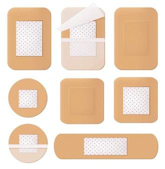 Medisch gips, helthcare bandage tape pad pleisteren verschillende vormen en vormen geïsoleerd