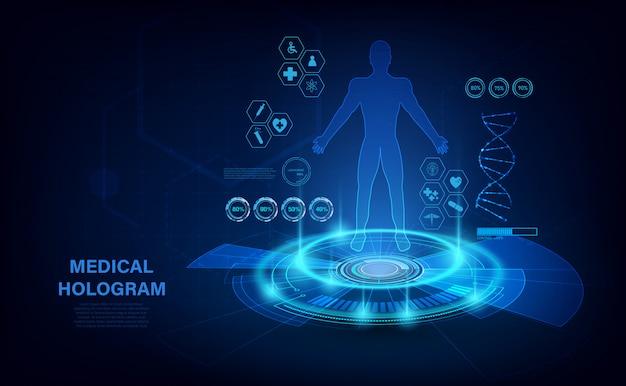 Medisch hologram met lichaam, onderzoek in hud-stijl. moderne futuristisch onderzoek gezondheidszorg concept met hologram menselijk lichaam en gezondheidsindicatoren. röntgenfoto.