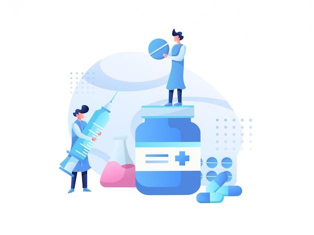 Medisch illustratieteam en gezondheidsoverleg