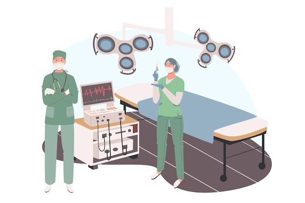 Medisch kantoor webconcept. chirurg en assistent bereiden zich voor op operatie, staan in operatiekamer met bank, bewakingssysteem